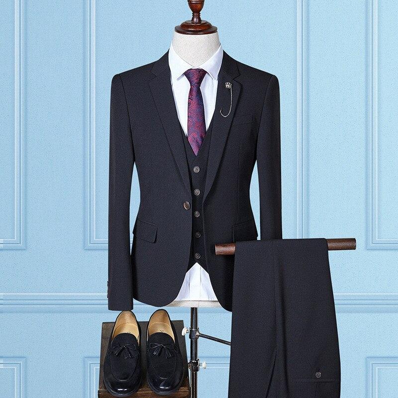 Slim Fit Men's Suit Suitable For Wedding Groom Groomsmen Dress Men's Single Buckle Men's Business Formal Suit 3 Piece Suit