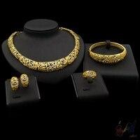 Yulaili gold gevoelens hoge kwaliteit grote sieraden sets hot trendy in Guangzhou hollow bloemen meedoen anniversary