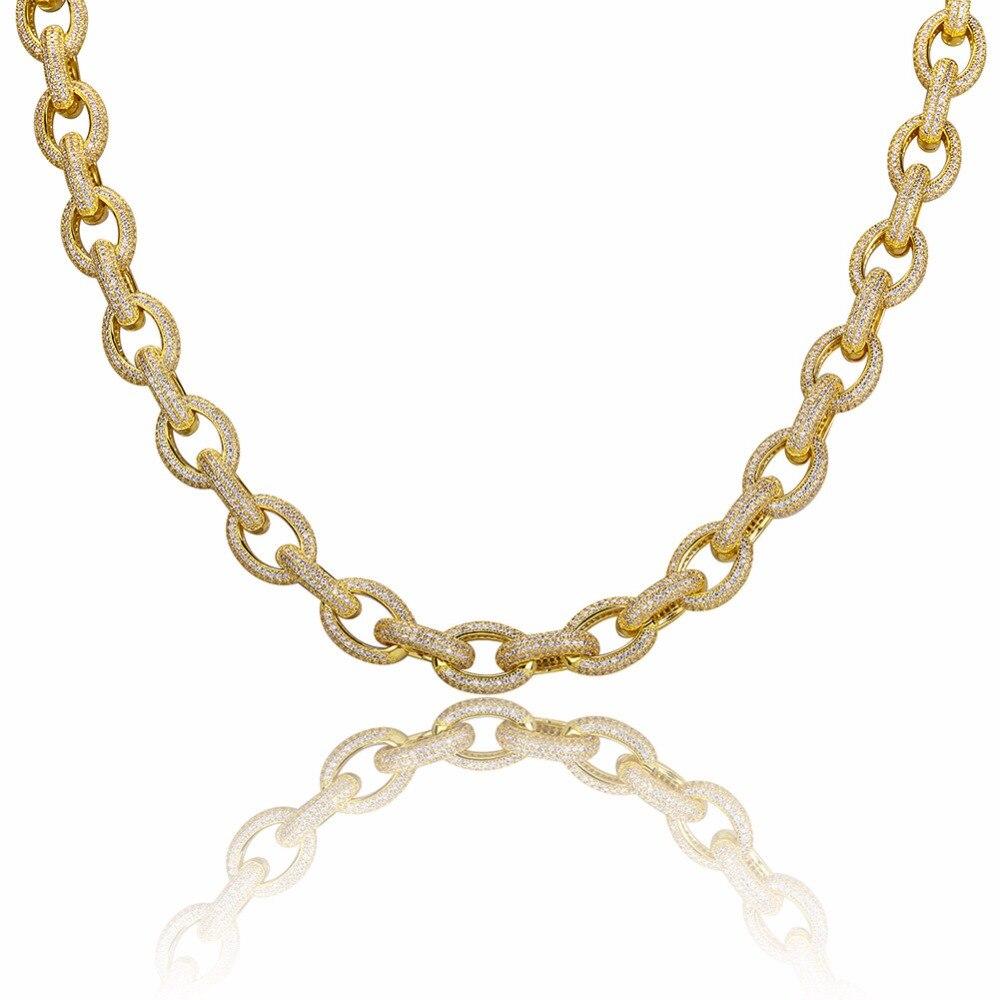 18 мм Роскошные Полный CZ камнем Майами кубинский Цепочки и ожерелья 24 Gold Filled Копер Для мужчин Bling льдом хип хоп рэппер сеть ювелирных