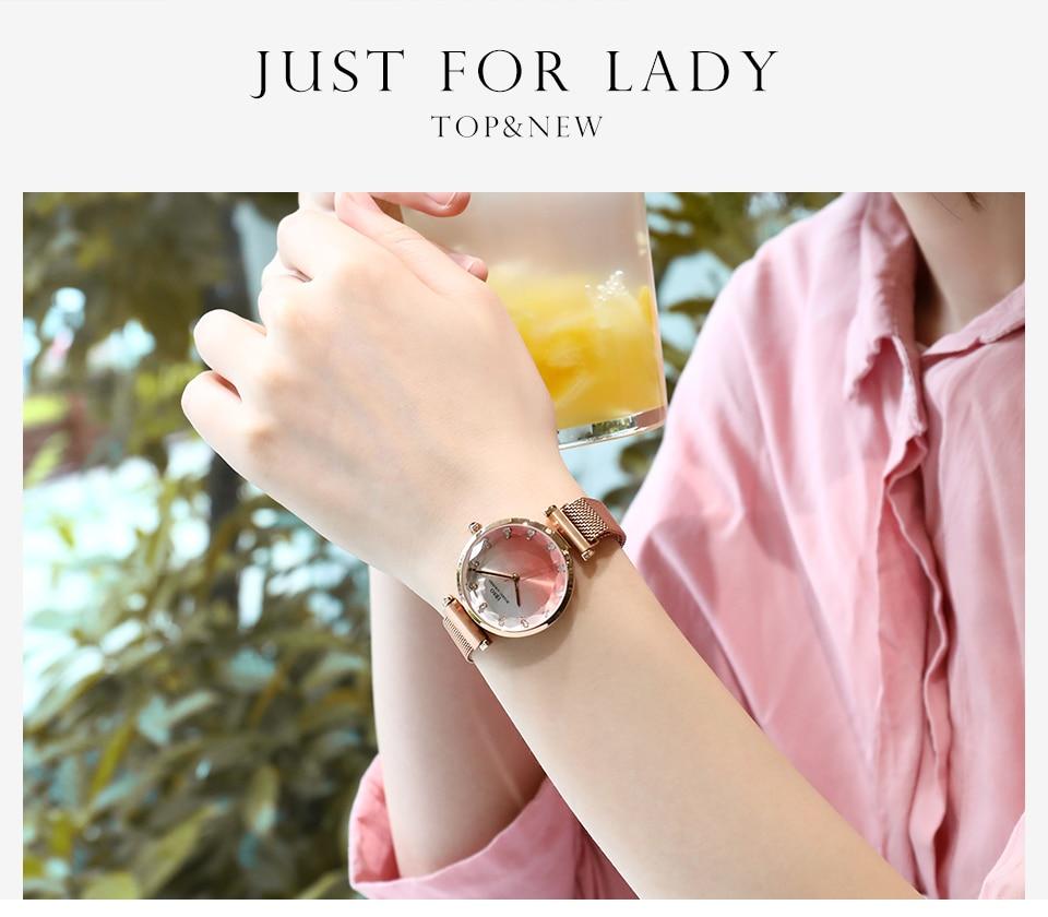 Fashion Women Hit Color Watches Female Cut Glass Design Quartz Watch Magnet Buckle 2