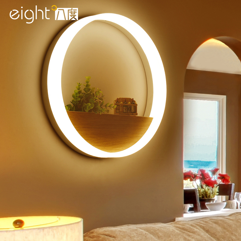 Modern personality Wall light round LED bedroom bedside lamps simple living room brace corridor aisle wall lamp bedroom bedside wood led aisle corridor light northern europe simple living room wooden acrylic round wall lamp free shipping