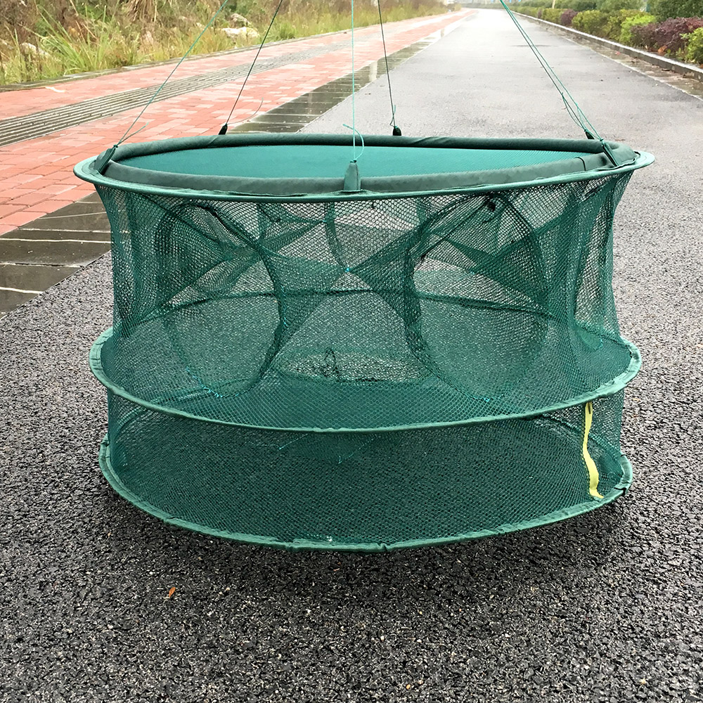 Automatic fishing net shrimp cage nylon foldable crab fish for Fish trap net