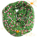 Hot Christmas Little Walking Stick Ring Scarf Women Snowflake Print Infinity Scarves Female Loop Hand Crutch Chevron Shawl
