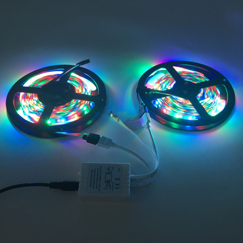 10m RGB LED strip light 3528 SMD diode ribbon tape 60leds m 600leds+44 Key IR remote controller +DC 12V Adapter Power Supply set (30)