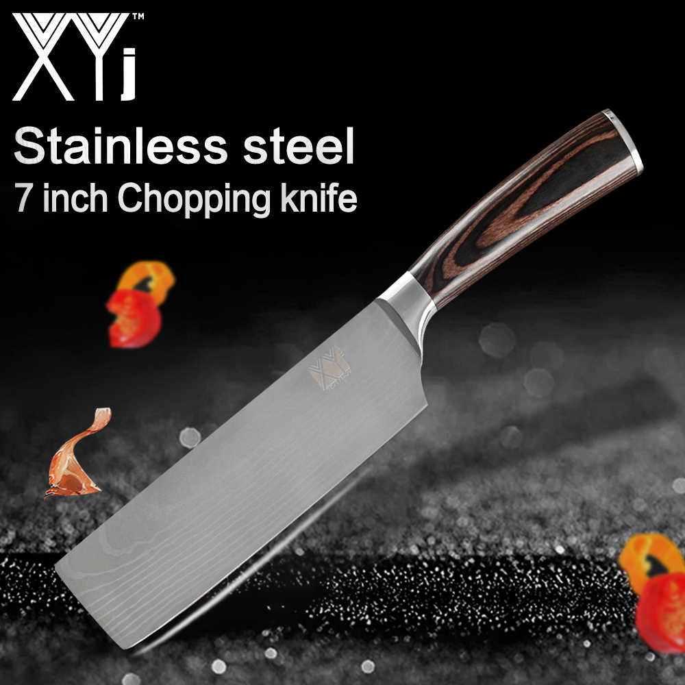 XYj Chef Knife Kitchen Knife Japanese Butcher Meat Cleaver Vegetable 7 inch Stainless Steel Nakiri Cooking Cutter Chooping Knife