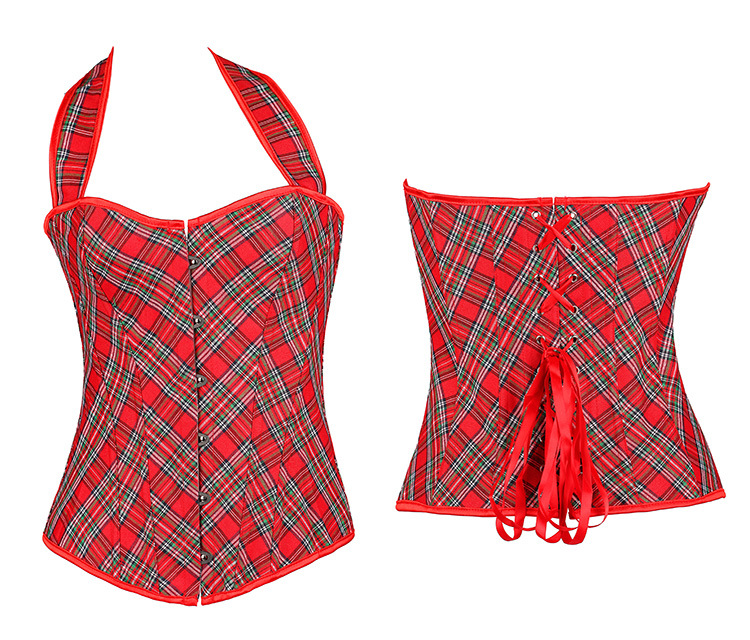 Red Plaid Corset Sexy Women Bustier Verano Corset With Strape Waist Sexy Corset Overbust Corsets Plus Szie 6XL bustiers