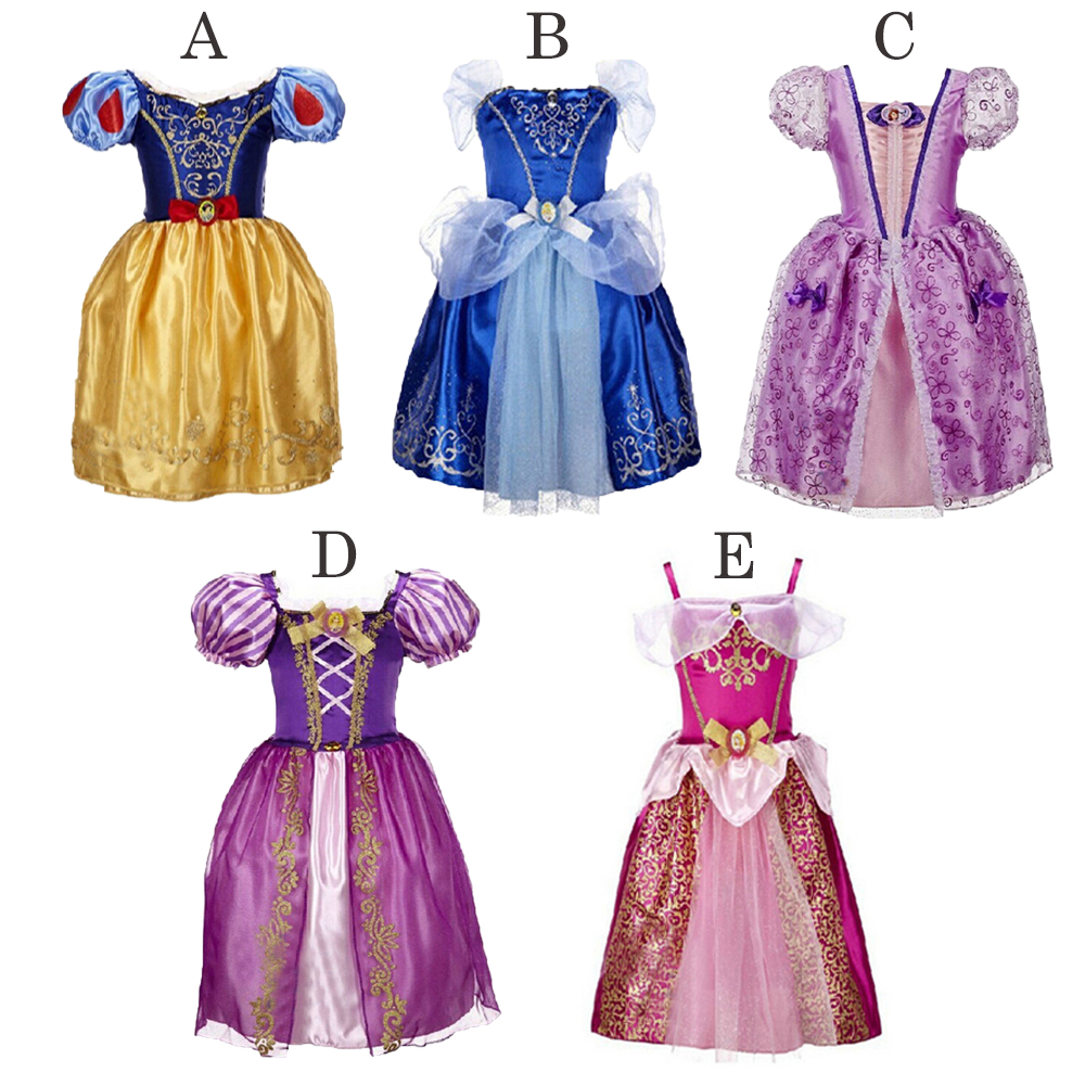 New Girls Princess Party Dresses Kids Girl Snow White Cinderella Sleeping Beauty Sofia Rapunzel Cosplay Costume Clothing 3-10T kids girls summer cotton dress children girl snow white sofia cinderella rapunzel princess dresses 1 5t cosplay costume t469