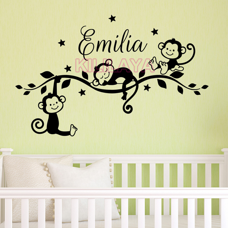 Customizable cute baby monkeys vinyl mural wall decals for Baby mural stickers