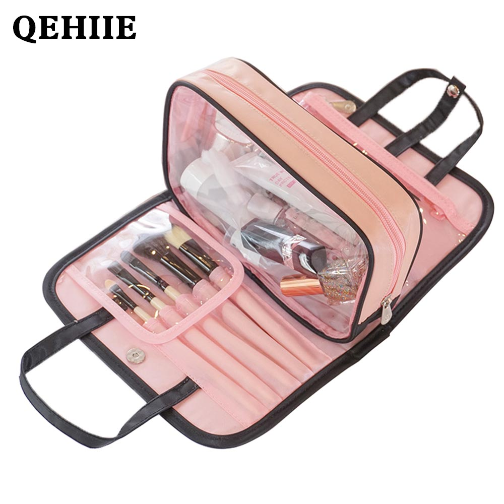 Cosmetic-Bag Beauty Large-Capacity Travel-Organizer Two-In-One Folding Women's