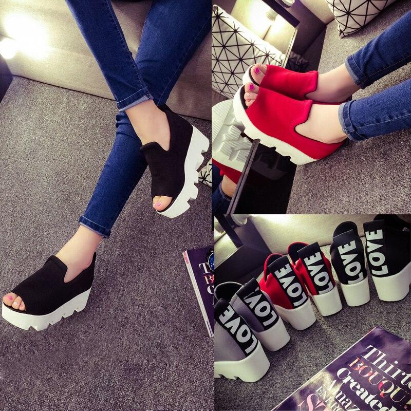 2017 Spring And Summer Open Toe Female Sandals Elevator Platform Wedges High-heeled Shoes
