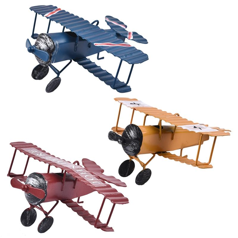 Vintage Iron Aircraft Model Photography Props Antique Ornaments Airplane Figurines Status Metal Plane Bar Coffee Decorations image