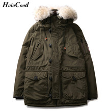 Hot Sale 2017 New Men Padded Parka Winter Polyester Coat Thick Parkas Fur Collar Fashion Coat Men's Warm Down Coats Large Size