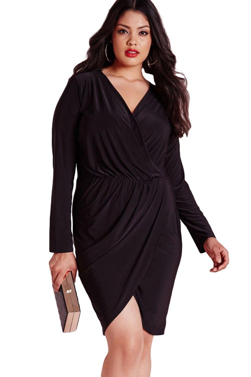 Dear Lover Winter Black Plus Size V Neck Slinky Wrap Dress Vestidos Big Size  XXXL Long Sleeve Office Autumn Large Woman LC60862-in Dresses from Women s  ... 9b747b60562d