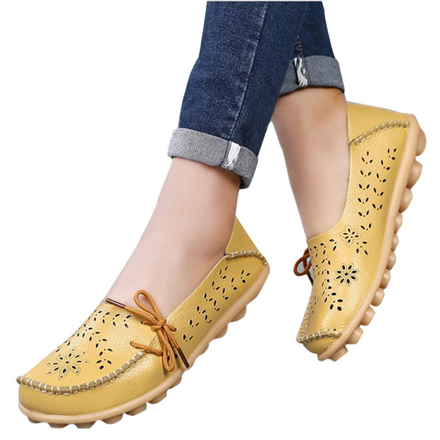Breathable genuine leather shoes woman sneakers 2018 cut-outs footwear loafers flats shoes female 13 colour tenis feminino