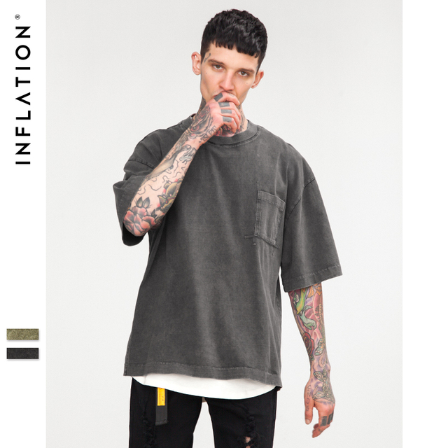 bf2d7af0c INFLATION Men Enzyme Wash Retro Oversized Tshirt Summer 2018 Streetwear Hip  Hop Tees Men Cotton Simple Fat Top Tee 8276S