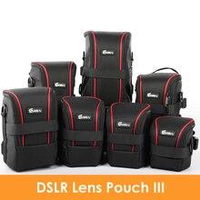 цена на Upgraded Nylon Functional Lens Pouch DSLR Camera Lens Pouch Case Soft Padded Bag Strap for Canon Nikon Lenses
