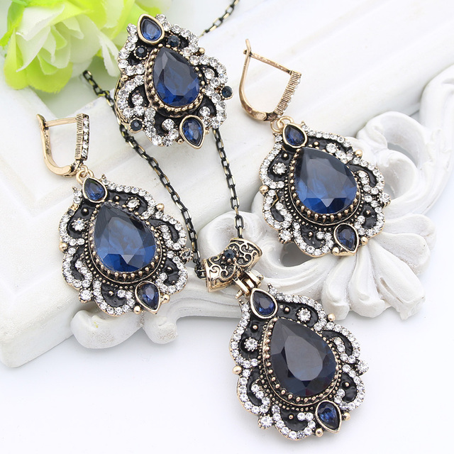 Hesiod Indian Wedding Jewelry Sets Gold Color Full Crystal: Aliexpress.com : Buy Exquisite Turkish Women Flower Resin