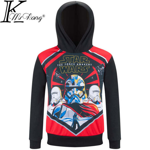 Anime Star Wars T Shirt Boys Star Wars Hooded Hoodie Clothes Girls Brand Spring & Autumn Style Clothes 10 Years