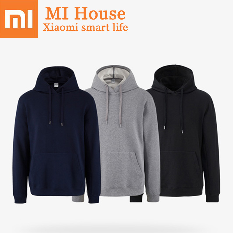 Xiaomi 100% Cotton Hoodi Men and Women Long Sleeve Sweater Solid Color Fashion Designer Hooded Top for Men Tshirt Male fashion long sleeve solid color pockets cardigan for women