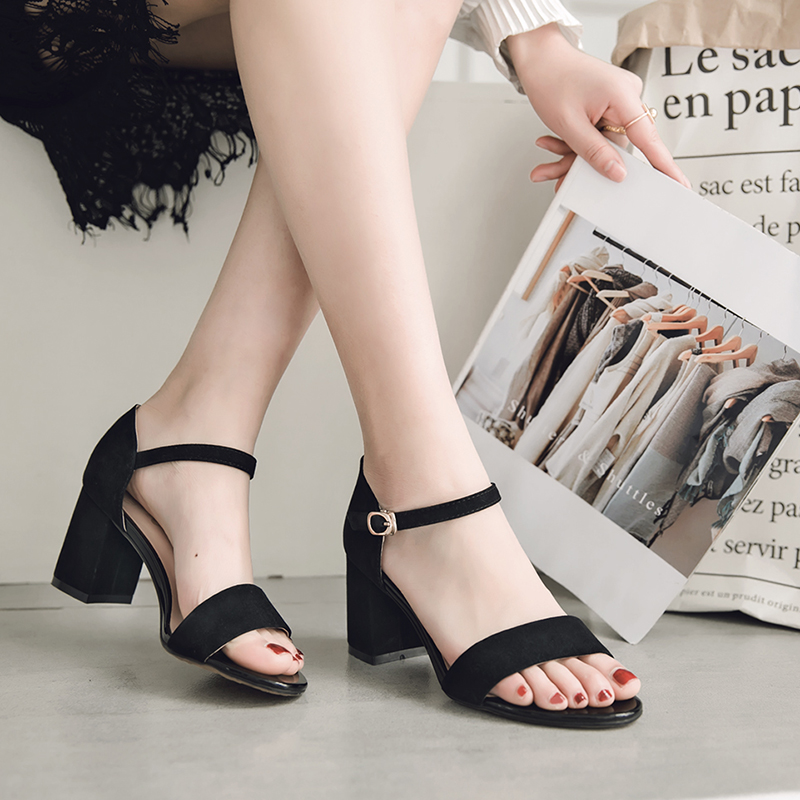 ФОТО Contracted Design Women Leather Pumps Fashion Square Heel Red Black Casual Sandals Handmade Summer Med Heel Solid Women Shoes