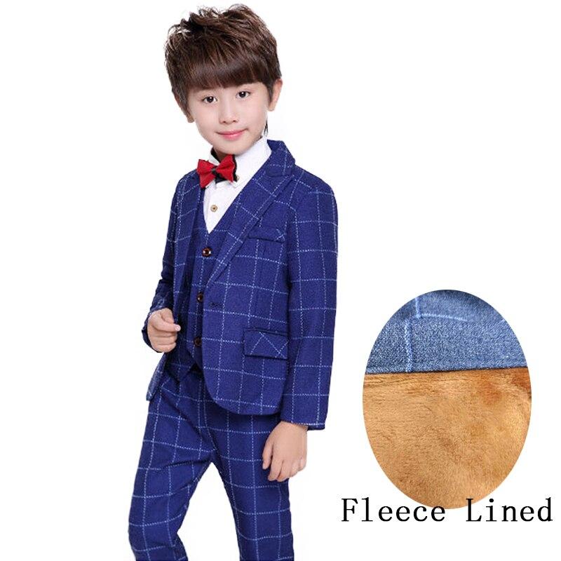 купить 3 Piece Boys Winter Suit Kids Fleece Lined Tuxedo Suit Boys Wedding Dress Children Plaid Clothes Sets недорого