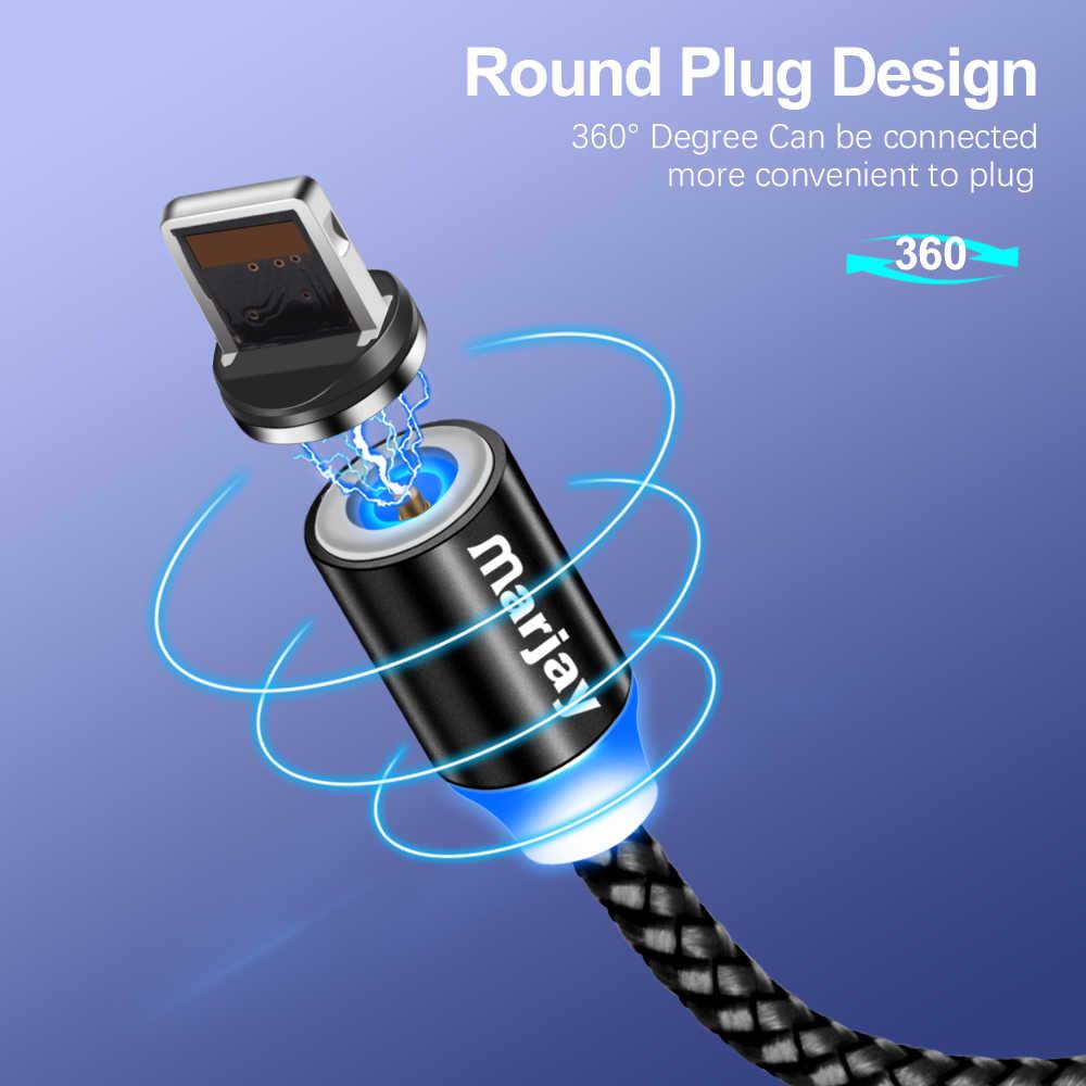 Marjay 360 مصابيح LED مستديرة شاحن سريع كابل يو اس بي آيفون X XR XS MAX 5 5s SE 6 S 6 S 7 8 Plus باد الهاتف المنشأ طويل الحبل تهمة