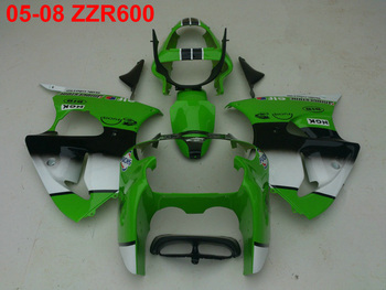Injection mold 100% fit for Kawasaki Ninja ZZR600 05-08 green white black fairings ZZR600 2005-2008 OT34