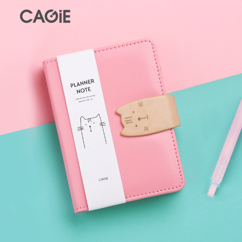 CAGIE Kawaii Leather Notebook DIY Girls Personal Diary Planner Organizer A6 Cat Bullet Cute Diary School Notebook Spiral Filofax cagie 2017 new arrive a7 notebook lock diary women cute leather travelers notebooks kawaii mini planner sketchbook filofax