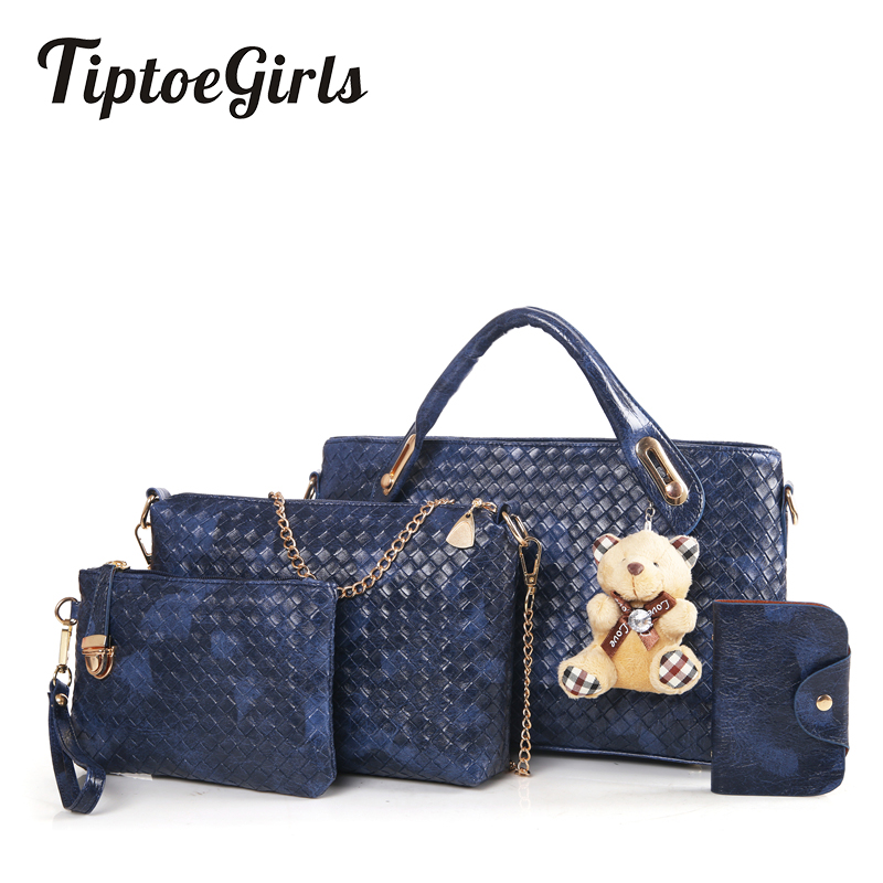 Handbags Europe and United States New Trendy Fashion Wild Woven Bag Bear Ornaments Handbag Shoulder Messenger Bag