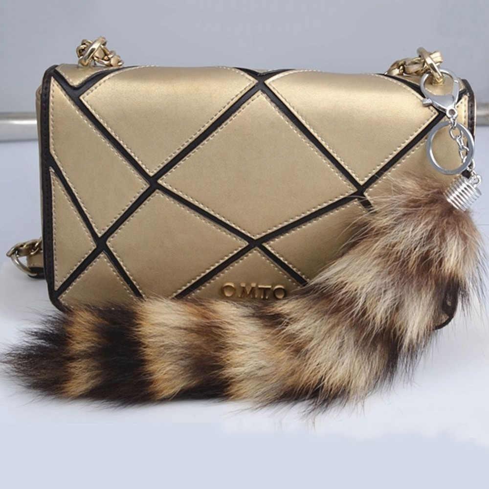 6959f6079 ... Fashion Jewelry 1PC Large Faux Raccoon Dog Fox Tail Fur Keychain Tassel  Car HandBag Keyring Charm ...