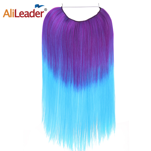 Alileader Fish Line Hairpieces Clip on Wire Silky Kanekalon Hair ...