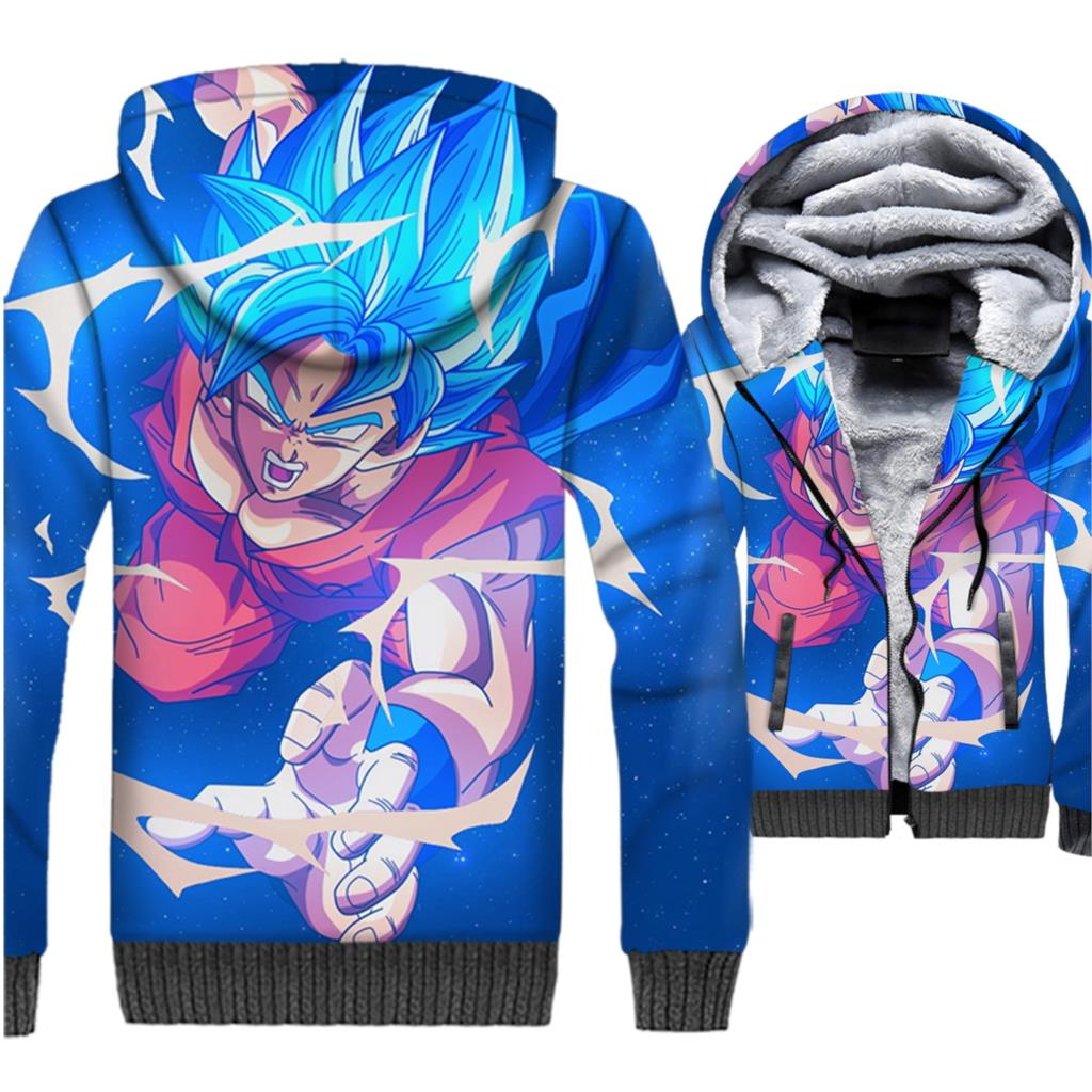 men thicken rib sleeve jackets fashion new plus size coats Dragon Ball super Saiyan hoody 3D printed swag tracksuits 2018 winter