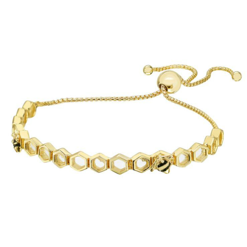 2018 New 925 Sterling Silver can adjust honeycomb bee Bracelets Chain rope gold color fashion charm female Jewelry accessorie