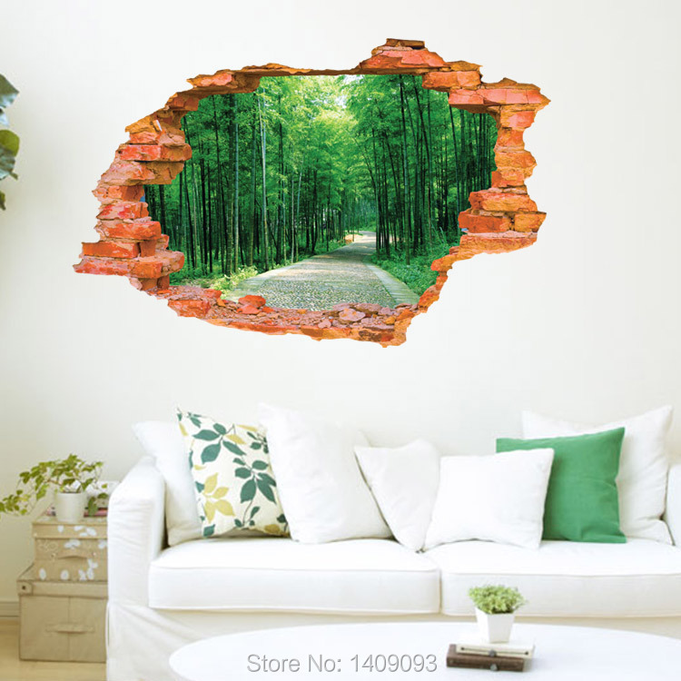 ... 2015 Large Wall Sticker Tree Forest Landscape 3d Brick Decals Living  Room Bedroom Decoration Vinyl Wall ... Part 96