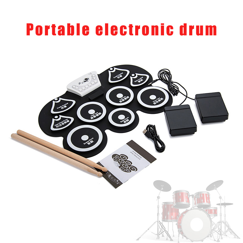 Electronic Roll up Drum Pad Kit Portable Silicone Foldable with Wooden Stick XR-HotElectronic Roll up Drum Pad Kit Portable Silicone Foldable with Wooden Stick XR-Hot