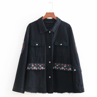 FIRSTTO Punk Floral Embroidery Burr Demin Jackets Two Pockets Long Sleeve Turn down Collar Women Casual Black Top Outerwear Coat