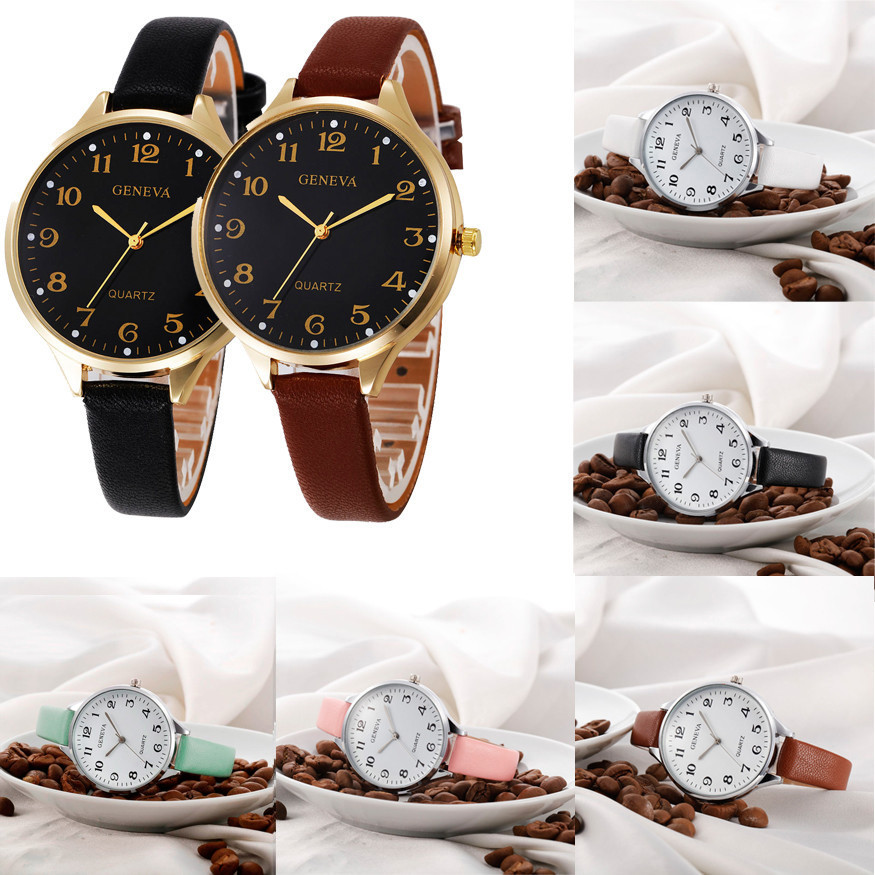 Clock Watches 2018 Women brand Fashion Watches Faux Leather Women Casual Quartz Analog Luxury Wrist Watches Relojes Mujer Black fashion brand geneva watch women men casual faux leather quartz wrist watches relogio clock relojes mujer