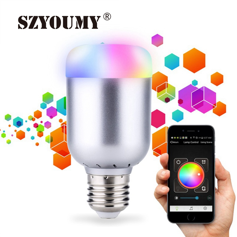 SZYOUMY 10pcs Bluetooth 4.0 Smart Light Bulb RGBW Changed by Music Sound E27 Dimmable LED Lamp 10W App for iOS Android DHL Ship szyoumy e27 rgbw led light bulb bluetooth speaker 4 0 smart lighting lamp for home decoration lampada led music playing
