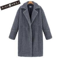 AISHGWBSJ 2019 winter long jackets for women padded cotton jacket new lapel overcoat coats lambswool parkas PL037