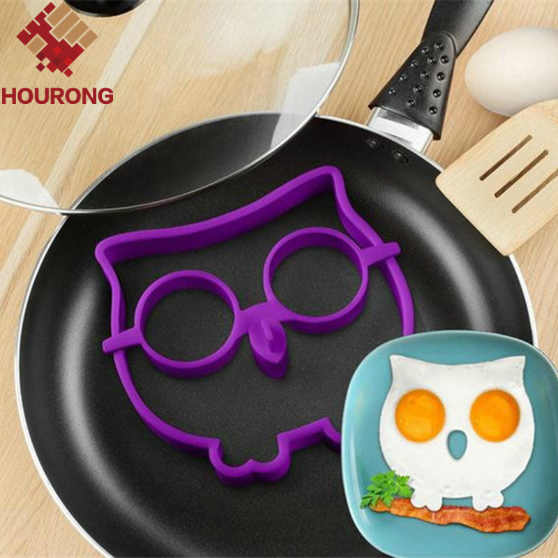 1Pcs Breakfast Kitchen Silicone Owl Fried Egg Mold Pancake Mould Funny  Kitchen Gadgets Free Shipping(