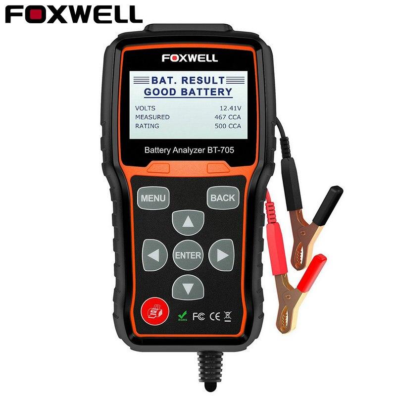Foxwell BT705 12 v Batteria Auto Tester Analyzer 2000CCA 24 v Camion Tester di Partenza di Ricarica Tester di Resistenza Interna con Stampante