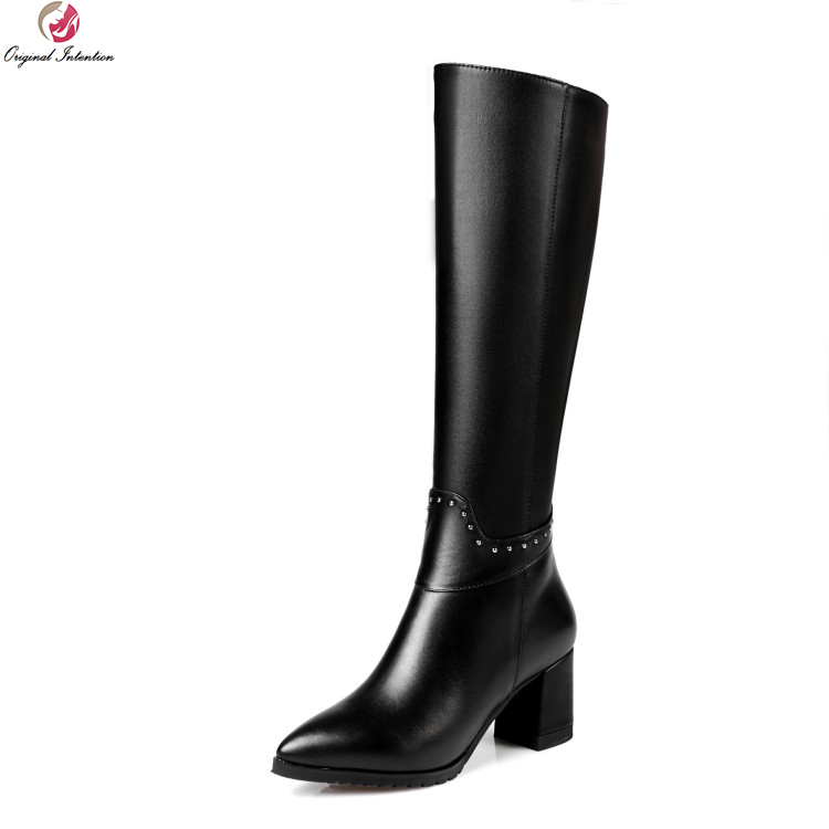 Original Intention New Fashion Women Knee High Boots Cow Leather Pointed Toe Square Heels Boots Black Shoes Woman US Size 3-13 original intention new fashion women pumps square toe square heels pumps cow leather stylish black shoes woman us size 3 5 10