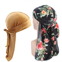 Plain and print velvet durag 2pcs set Unisex Men Women Breathable Bandana Hat Durag do doo du rag