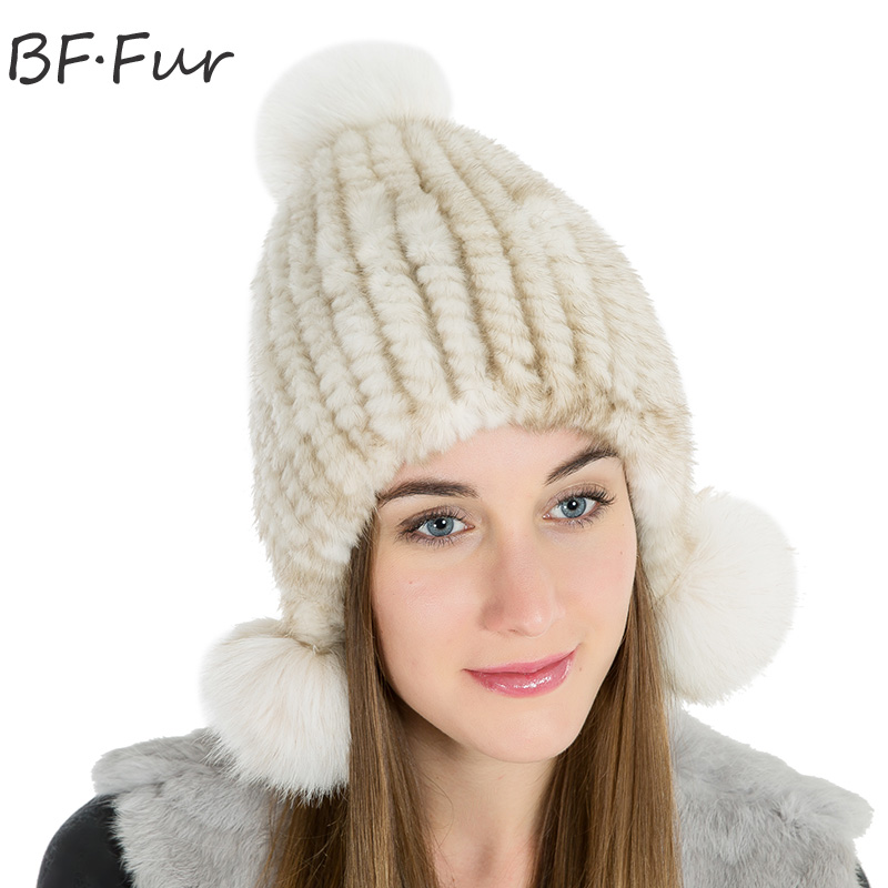 Natural Color Real Mink Fur Beanies Hats Female Winter Warm Solid Knitted Cotton Bonnet White Animal Pompom Adult Hats For Girls russian real mink fur hat for female animal fur winter warm beanies fashion solid color cap natural color bonnet girls hats