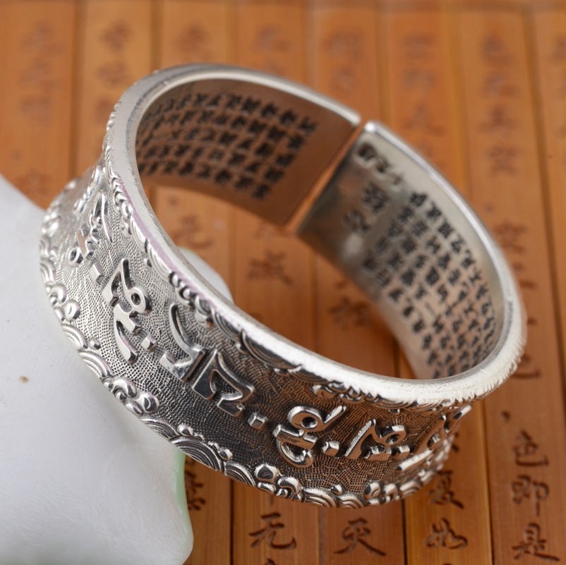 Handmade Silver Heart Bracelet S999 thousands of fine silver wholesale wholesale six words a couple of explosionHandmade Silver Heart Bracelet S999 thousands of fine silver wholesale wholesale six words a couple of explosion