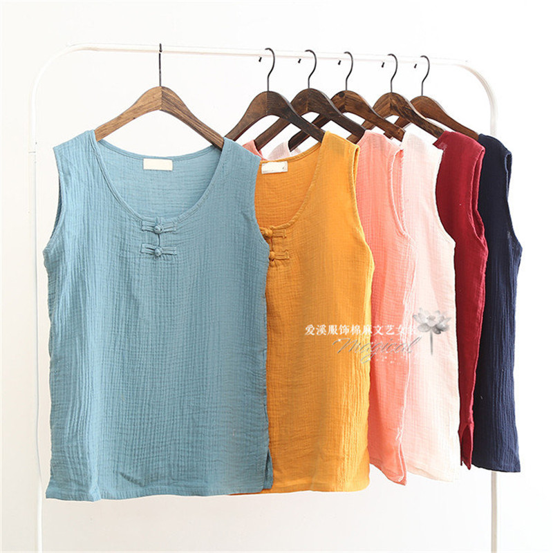 2019 Sommer Frauen Nationalen Stil Weste, Leinen Baumwolle Lose Frauen Tanks Weiche Lange O Neck Conforatble Weste Hot Top, Plus Größe S-6xl Clear-Cut-Textur