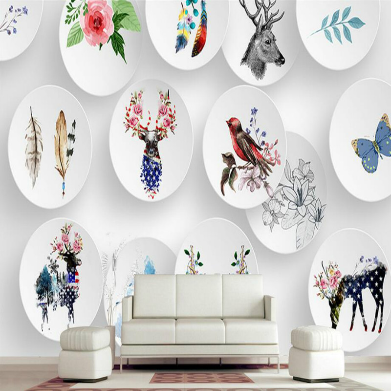 Custom Home Improvement 3d Wall Paper Rolls Photo Wallpaper for Walls Murals3D Stereo Nordic Simple Elk Animal Hand Painted custom home improvement 3d wall paper rolls photo wallpaper for walls 3d geometric background wall wallpaper murals