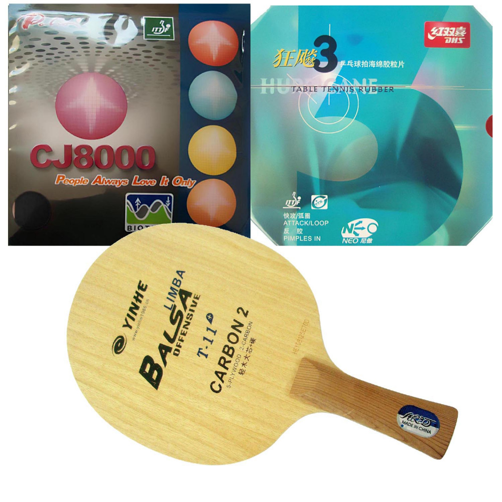 Pro Table Tennis Combo Racket: Galaxy T-11+ with DHS NEO Hurricane 3 and <font><b>Palio</b></font> <font><b>CJ8000</b></font> 2-Side Loop Type Long shakehand FL image