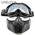 BJGLOBAL- New CRG Motorcycle Helmet Mask Detachable Goggles And Mouth Filter for Modular Open Face Moto Vintage Helmet Mask