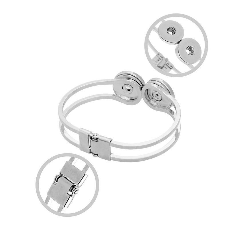 10pcs Fashion design alloy interchangeable double snap expandable DIY Jewelry buttons bracelet bangles fot for 18mm snap